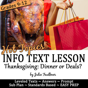 Thanksgiving Nonfiction English Lesson on Hot Topics for Teens: Dinner or Deals?