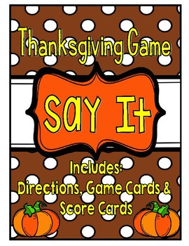 Thanksgiving Game: Taboo- Great for literacy centers or whole class
