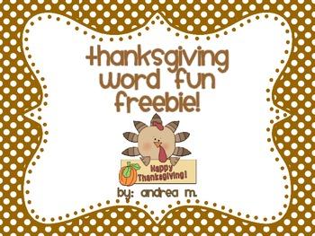 Thanksgiving Word Fun Freebie!