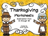Thanksgiving Worksheets Subtration from 6 through 10