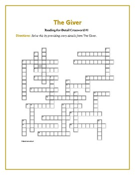 The Giver: 2 Reading-for-Detail Crosswords--Good Objective