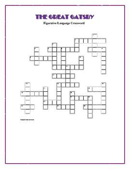 The Great Gatsby: Figurative Language Crossword--Creative!