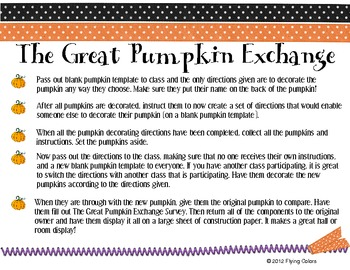 The Great Pumpkin Exchange -Writing a Set of Directions -H