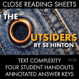 The Outsiders, Close Reading Lesson Materials for Four Chapters
