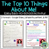 """""""The Top 10 Things about Me!"""""""