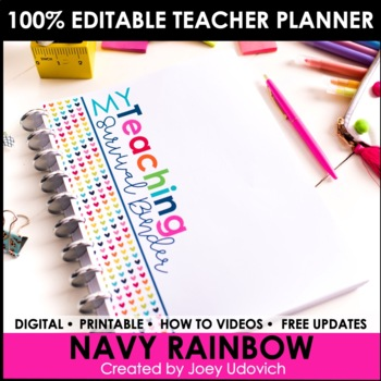 Editable Teacher Binder: Navy Rainbow Theme {FREE UPDATES}