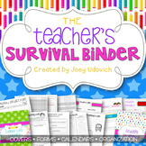 Editable Teacher Binder: The Colors of Teaching Theme {FRE