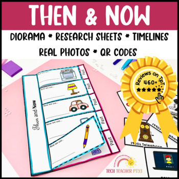 Then and Now History Unit 40 Pages 12 Activities Diorama Flip Book and More!