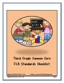 Third Grade ELA Common Core Standards Checklist