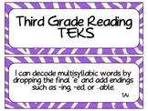 Third Grade Reading TEKS Cards