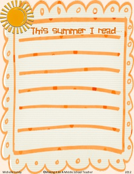 This Summer I Read....Blank List
