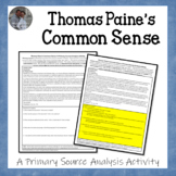 Thomas Paine's Common Sense American Revolution Document A