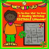 Tic Tac Show What You Know Reading Workshop Editable Program