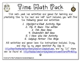 Time Math Pack - Hour and Half Hour - 6 Games/Activities