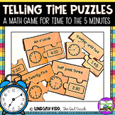 Telling Time Game:  Telling Time to the Nearest 5 Minutes Puzzles
