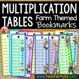Time Tables Flash Cards with Farm Animal Theme
