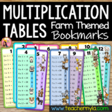 Time Tables Flash Cards with Farm Animal Theme