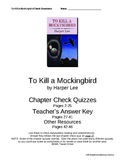 """To Kill a Mockingbird"" Check Questions w/Key, Chapters 1-"