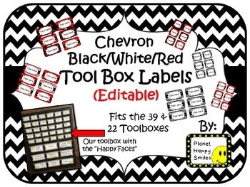 Teacher Toolbox Labels (Editable) ~ Black/White/Red Chevron Print
