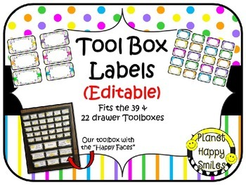 Teacher  Toolbox Labels (Editable) ~ Bright Polka Dots & Stripes