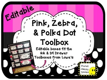 Teacher Toolbox Labels (Editable) ~ Pink, Black and White Polka Do