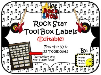 Teacher Toolbox Labels (Editable) ~ Rock Star Theme