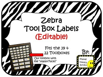 Teacher Toolbox Labels (Editable) ~ Zebra Print