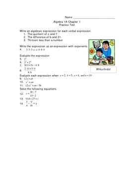 Tools of Algebra Pretest