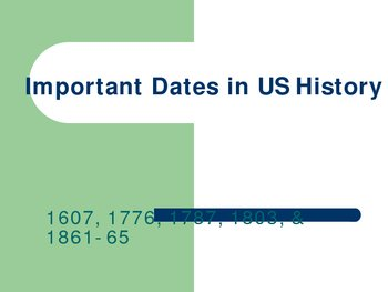 Top 5 Most Important Dates in U.S. History I (1607-1877)
