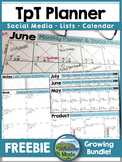 TpT Monthly Planner & Social Media Overview FREEBIE