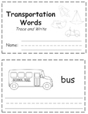 Transportation Words Trace & Write Book