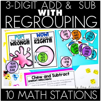 Triple Digit Addition and Subtraction Math Stations {3-digit}