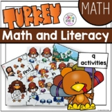 Turkey Kindergarten Math and Literacy Work Station Activities