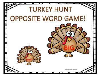 Turkey Hunt Find Your Opposite Match and Sort Game Freebie