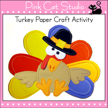 Turkey Paper Craft and Coloring Page Activity