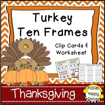 Turkey Ten Frames ~ Clip Cards (1-10)