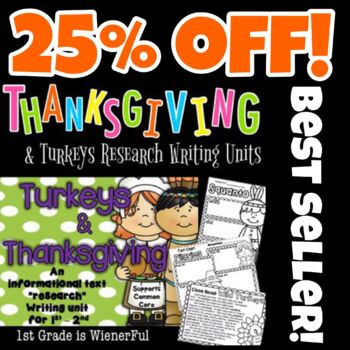 Turkeys and Thanksgiving Informational Writing Unit for 1st-2nd Grade