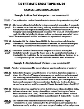 u.s. history regents essay thematic