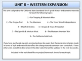 U.S. History - Western Expansion Unit - Oregon Trail to th