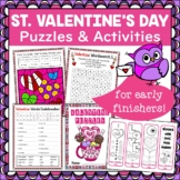 Valentine Puzzle and Activity Pack for Early Finishers