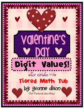 Valentine's Day Digit Values Tiered Math Tub