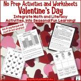 Valentine's Day No Prep Printables - Literacy and Math