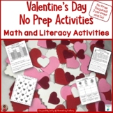 Valentine's Day No Prep Printables - Literacy and Math