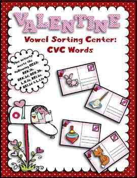 Valentine's Day Vowel Sorting Center Activity:  CVC Words
