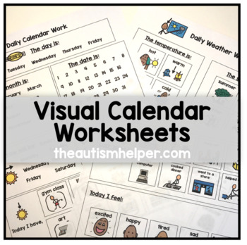 Visual Calendar Worksheets for Autism, Special Education, or Early Childhood!
