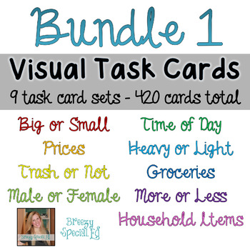 Visual Task Cards (great for independent work and work boxes) for Special Education