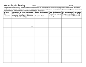 Vocabulary Chart - Find unfamiliar words in text!