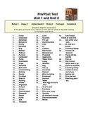Vocabulary Pretest and Answers for Unit 1 and Unit 2 Synonyms