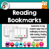 Vocabulary & Reading Response Bookmarks (Monster Theme)