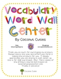 Vocabulary Word Wall Center